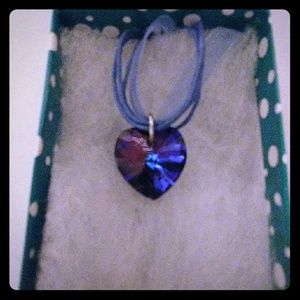 Jewelry - Stormy Navy Crystal Heart Necklace